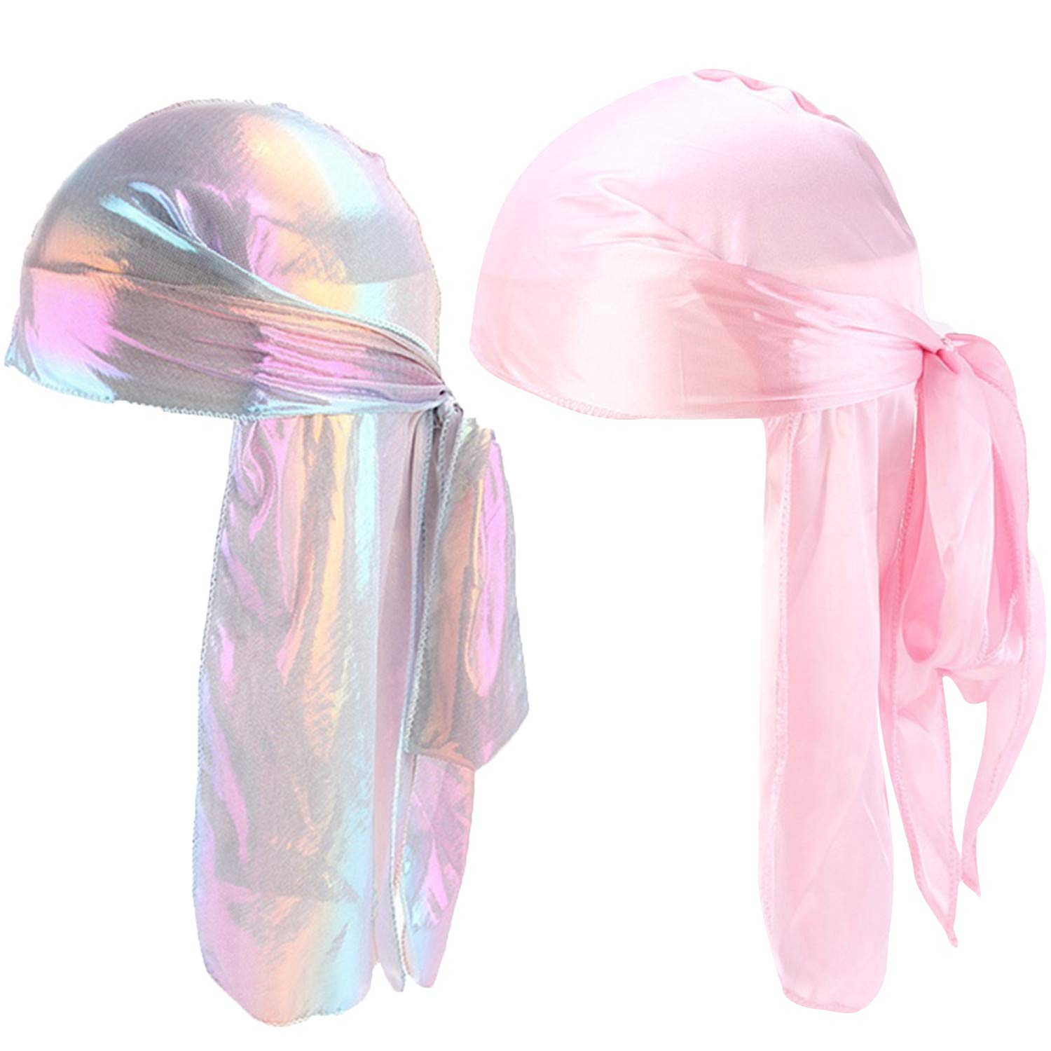 Unisex 2PCS Deluxe Silky Durag Extra Long-Tail Headwraps Pirate Cap 360 Waves Du-RAG (Laser Pink+Pink)