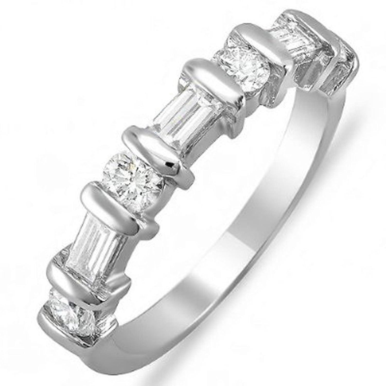 1.00 Carat (ctw) 14k White Gold Round & Baguette Diamond Ladies Anniversary Wedding Matching Band 1 CT