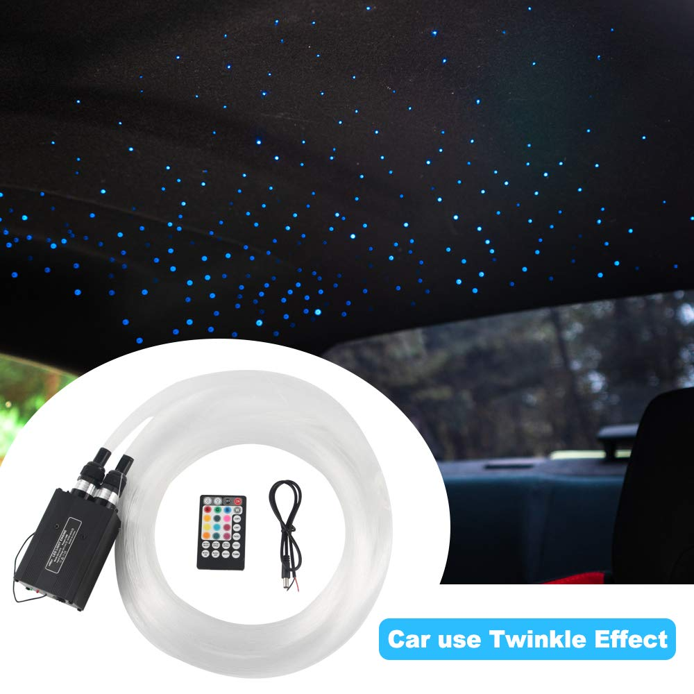 2019 Upgraded Car use 12W Twinkle RGBW LED Fiber Optic Star Ceiling Kit Remote Music Mode, Mixed 370 Strands 9.8ft, 0.03in+0.04in+0.06in