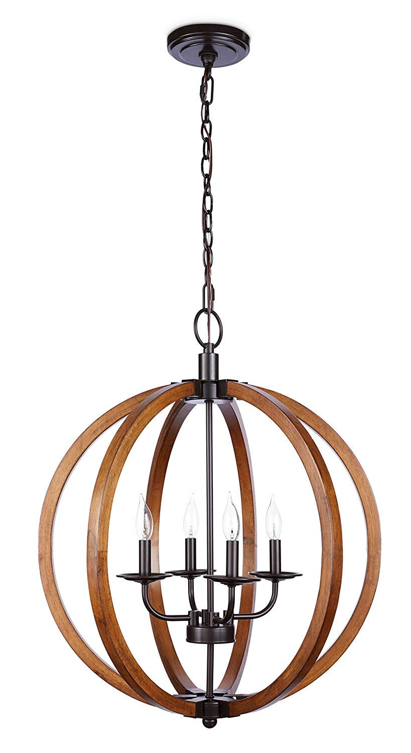 Decomust 20 W x 22.6 H Orb Global Contemporary Wood Frame Chandelier Foyer Candle-Style Rustic Pendant Lamp