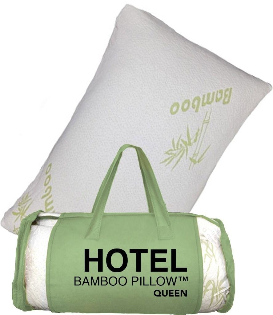 Queen Hotel Bamboo Pillow Memory Foam Hypoallergenic Cool Comfort Travel Bag NEW