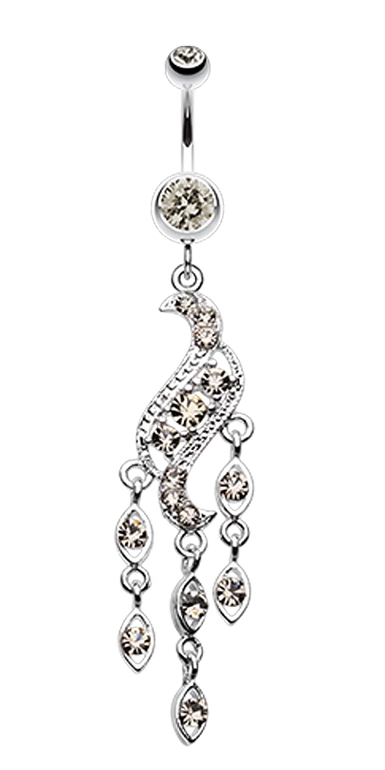 14 GA Sparkle Wave Drops Belly Button Ring - Sold Individually 1.6mm