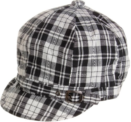 Cotton Plaid Belt - AN Women's Light Weight Plaid Cotton Fabric Belt Cabbie Hats - Black Gray