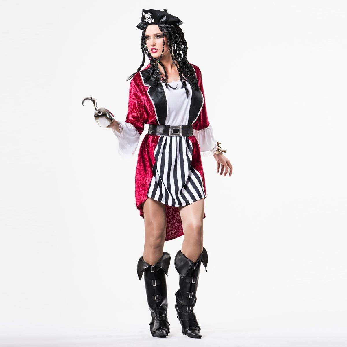 Disfraz de Pirata a Rayas para mujer: Amazon.es: Juguetes y juegos