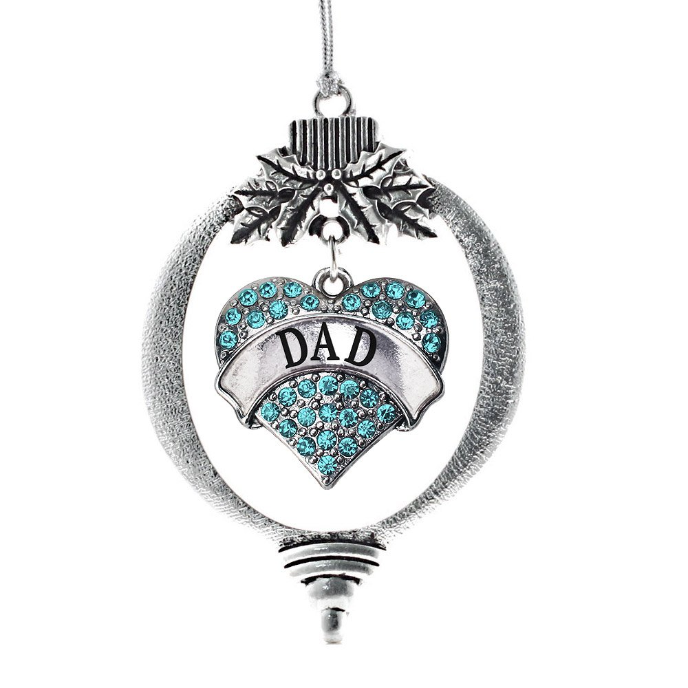 Silver Pave Heart Charm Holiday Ornaments with Cubic Zirconia Jewelry Inspired Silver Aqua Bride Charm Ornament