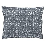 Roostery Steampunk Euro Flanged Pillow Sham Steampunk Panel - Pipes - Steel by Bonnie Phantasm Natural Cotton Sateen Made