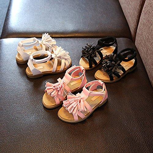 Scothen Niñas sandalias de tiras de las sandalias borla zapatos verano zapatos casuales zapatos de las sandalias de playa sandalias romanas slos niños zapatos princesa del flip-flop zapatillas White