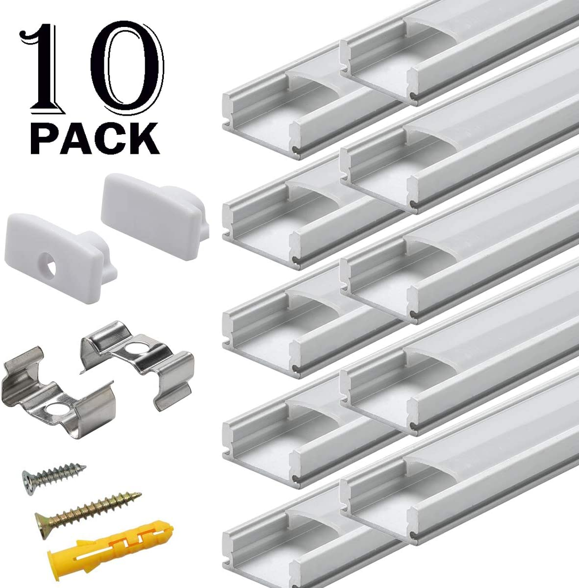 6x6.6ft LED Strip Aluminum Channel Starlandled LED Track Profile System with Milky Cover Diffusers End Caps and Mounting Clips for LED Strip Light Easy Installations