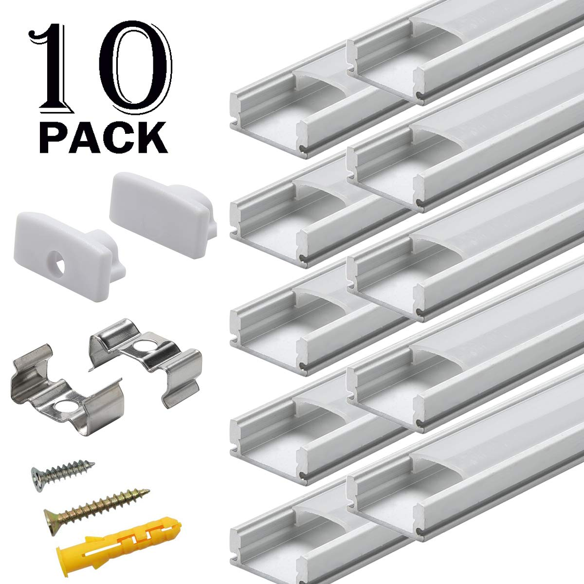 Starlandled 10-Pack Aluminum Channel for LED Strip Lights Installation,Easy to Cut,Professional Look,U-Shape LED Cover Diffuser Track with Complete Mounting Accessories for Easy Installation by StarlandLed