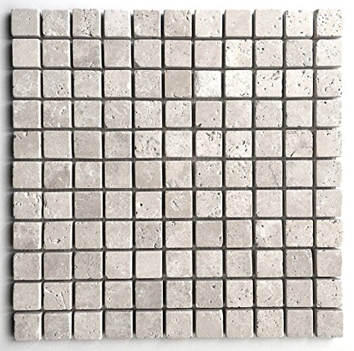 Ivory Light 1x1 Tumbled Aged Edge Travertine Mosaic Backsplash (Tuscany Bathroom Mosaic)