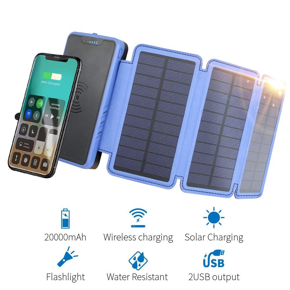 20000mAh Portable Solar Power Bank, Elzle Qi Wireless Charger with 3 Solar Panels, Flashlight, Dual 5V/2.1A USB Ports Waterproof External Battety Pack Compatible with Smartphones, Tablets, etc.