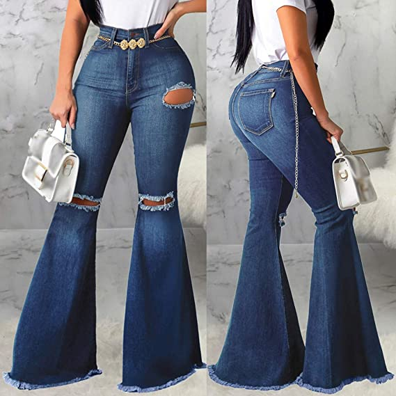 Amazon Coupon Code for Womens Bell Bottom Jeans Ripped Hole