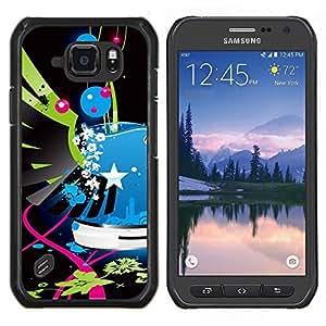 Alas Street Art Pop pintada azul Policía- Metal de aluminio y de plástico duro Caja del teléfono - Negro - Samsung Galaxy S6 active / SM-G890 (NOT S6)