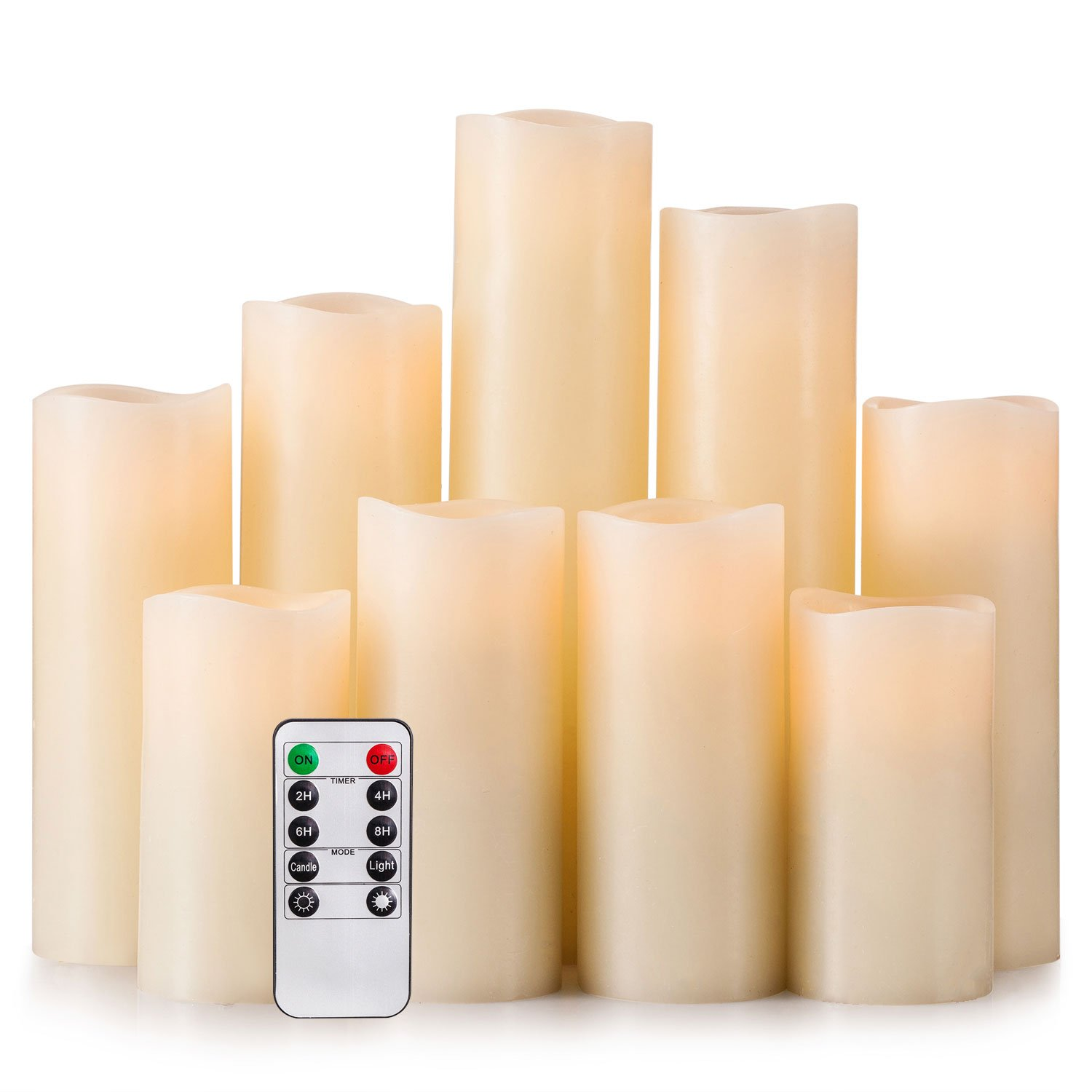 Ry-king 4'' 5'' 6'' 7'' 8'' 9'' Pillar Flickering Flameless LED Candles with 10-key Remote Timer, Set of 9