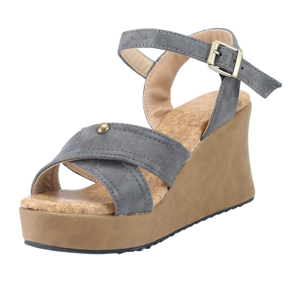 refulgence Women Low- Heel Sandals,Fashion Open Toe Sandals Summer Ankle Buckle Sandals Strap Thick Sandals (Gray,US=7.5)