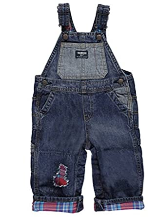 e7cf8b7f0 OshKosh B'Gosh Baby Boys Plaid Flannel Lined Patch Overalls, Denim/Red (