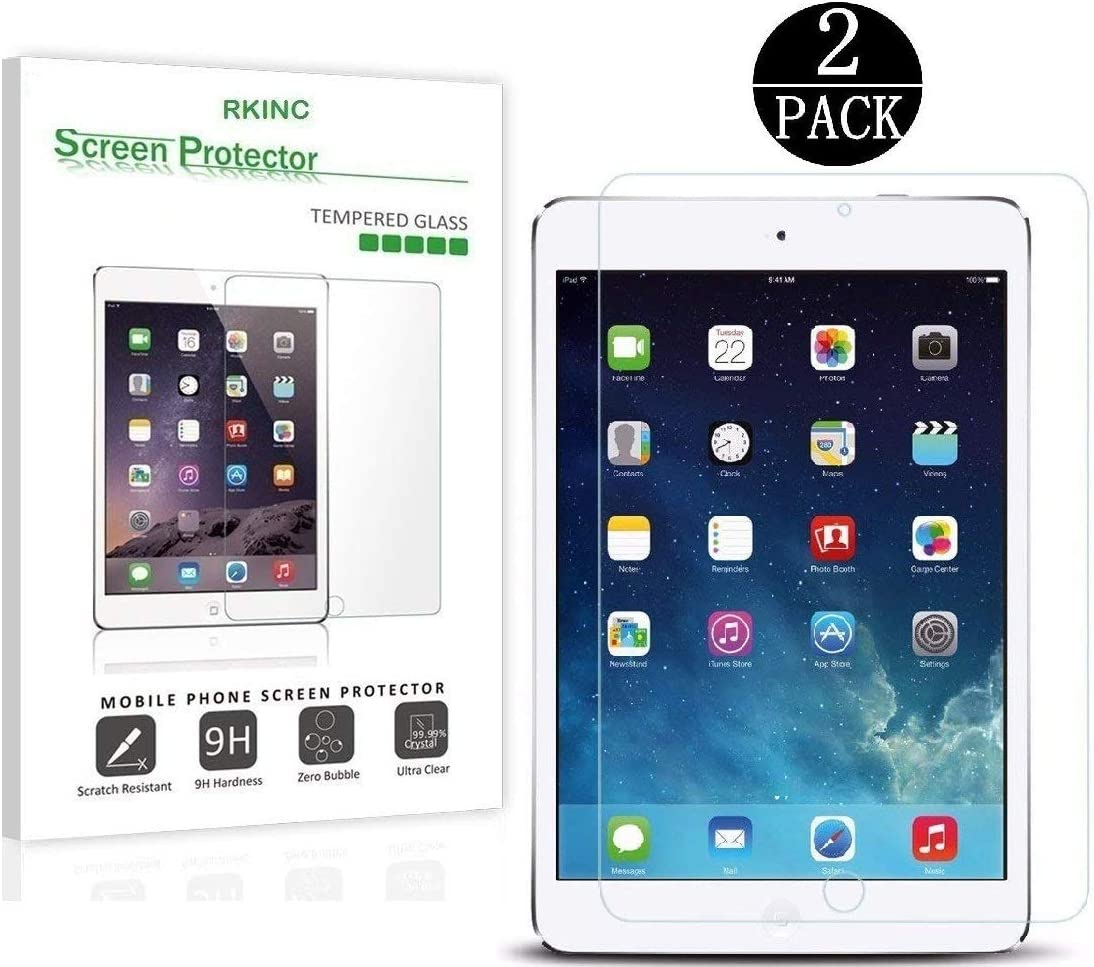 RKINC Screen Protector for Apple iPad Air 1/ Air 2, Tempered Glass Screen Protector[0.3mm, 2.5D][Bubble-Free][9H Hardness][Easy Installation][HD Clear] for Apple iPad Air 1/ Air 2(2 Pack)