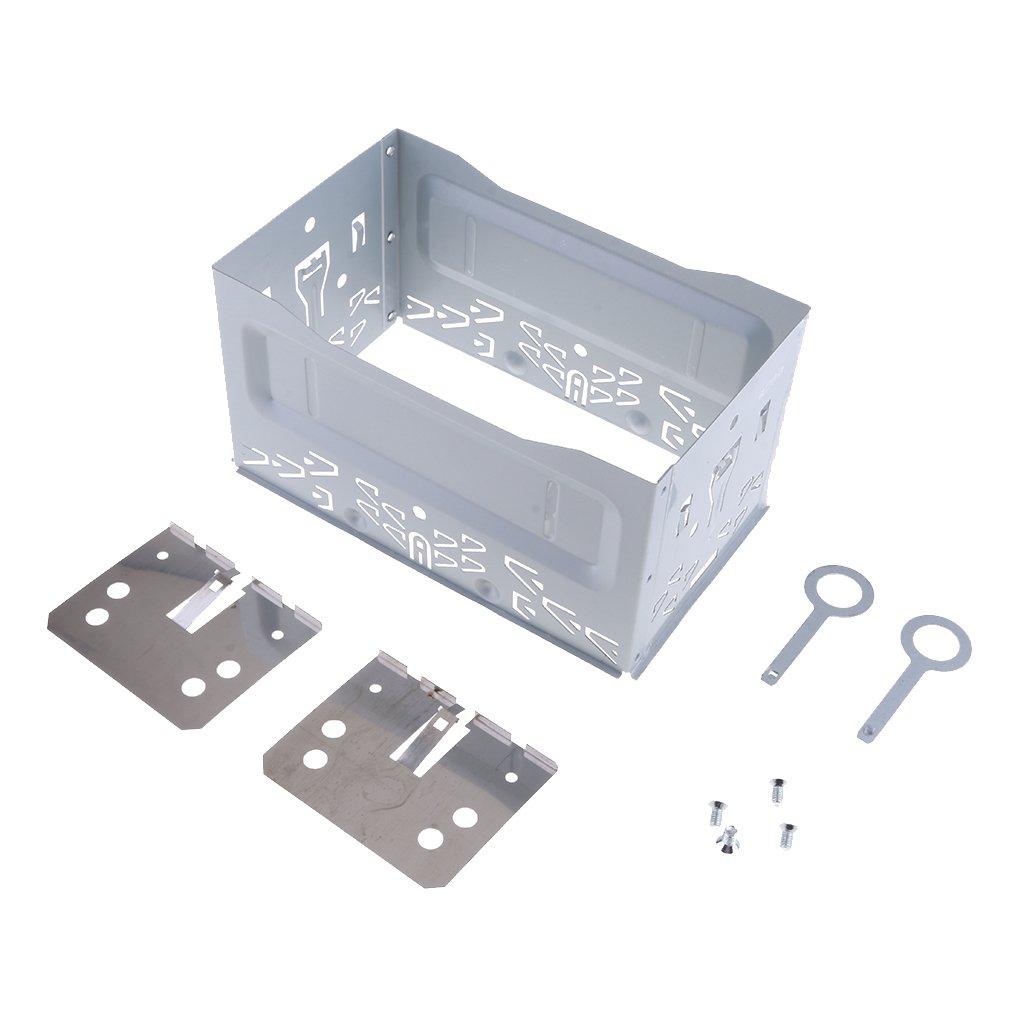 2 St/ück Demontage Schl/üssel MagiDeal ISO 2 Din Autoradio Rahmen Installation Set 1 St/ück Metallk/äfig inkl 2 St/ück Montagewinkel 4 St/ück Schrauben