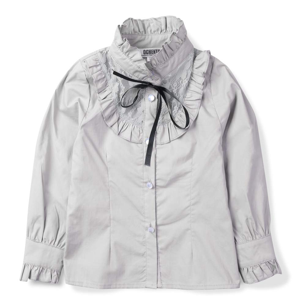 OCHENTA Girls' Long Sleeve Ruffle Princess Stitching Blouse, School Uniform Bowknot Shirt Grey US 10-11Y - Tag 150