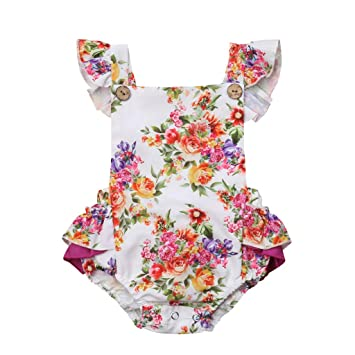 121f08681 oldeagle Baby Girls Outfits, Toddler Fly Sleeve Floral Frilled Ruffled  Backless Romper Kids Bodysuit Clothes