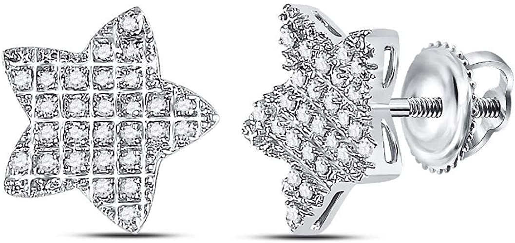 10kt White Gold Mens Round Diamond Circle Cluster Stud Earrings 1//12 Cttw