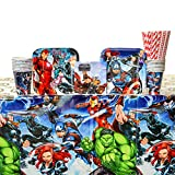 Marvel Avengers Birthday Party Supplies Pack for 16 Guests | 24 Straws, 16 Dessert Plates, 16 Beverage Napkins, 16 Cups, and 1 Table Cover | Superhero Birthday Party Supplies | Marvel Party Supplies