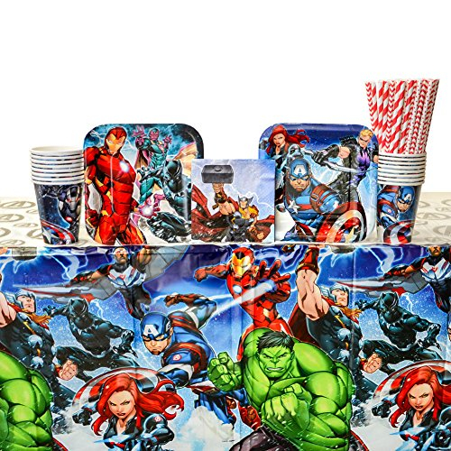 Marvel Avengers Birthday Party Supplies Pack for 16 Guests | 24 Straws, 16 Dessert Plates, 16 Beverage Napkins, 16 Cups, and 1 Table Cover | Superhero Birthday Party Supplies | Marvel Party Supplies -