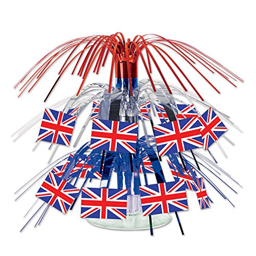 Cascade Decoration (Beistle 57371 British Flag Mini Cascade Centerpiece, 7.5 Inch)