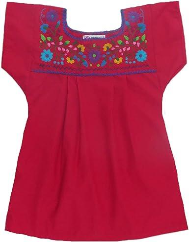 Mexicano ropa Co Niñas mexicano blusa Campesino tehuacan Puebla de popelina ct