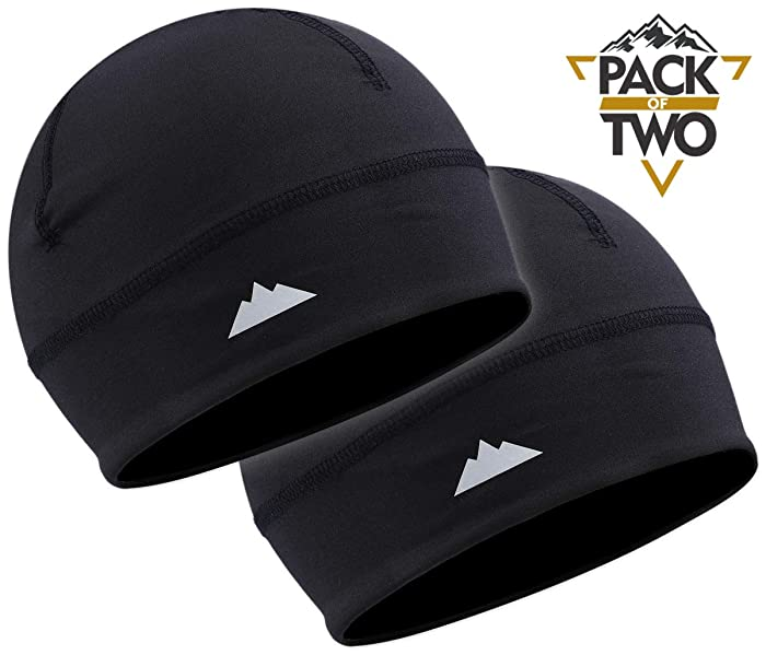 Tough Headwear Skull Cap/Helmet Liner/Running Beanie - Ultimate Thermal Retention and Performance Moisture Wicking. Fits Under Helmets (Black - 2 Pieces)