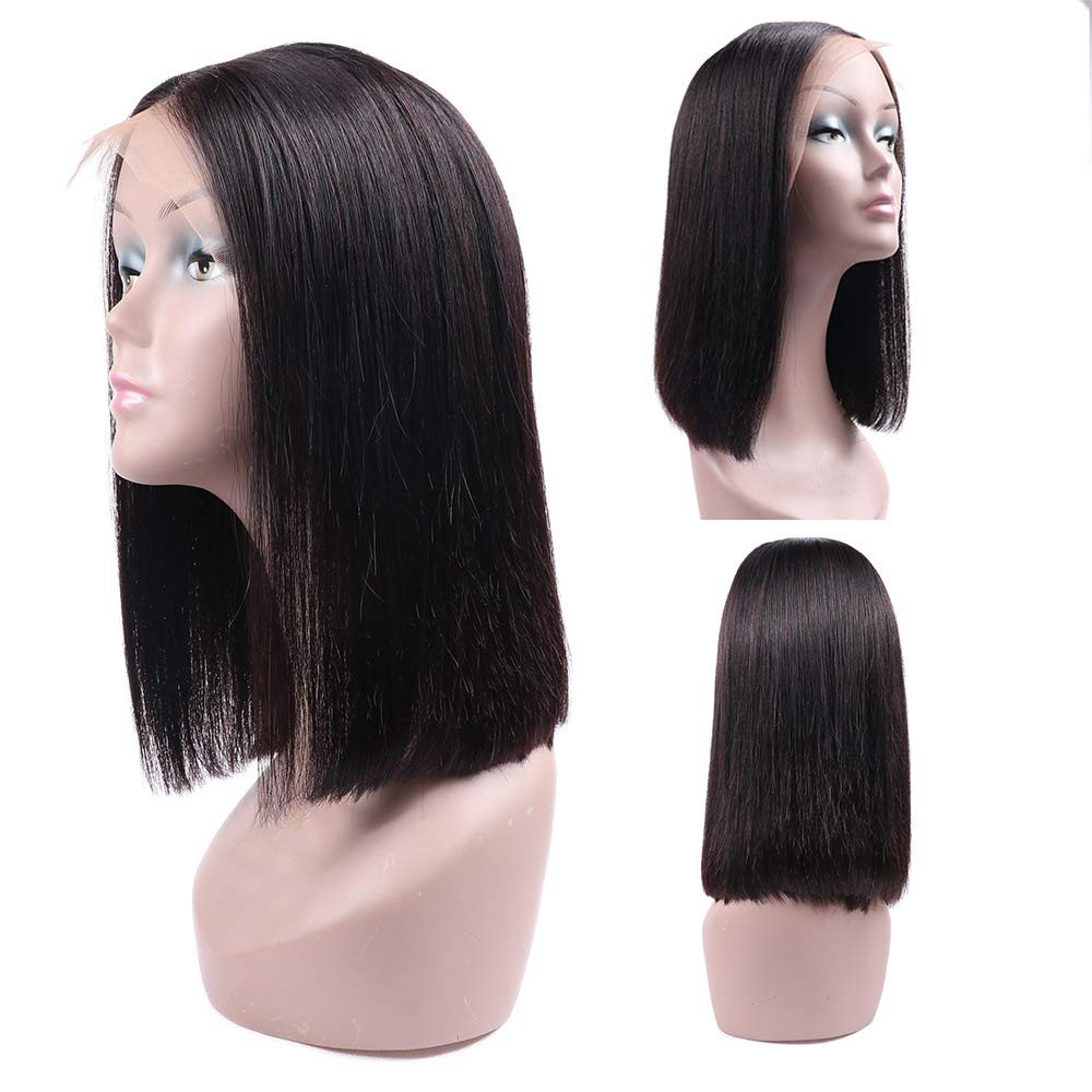 Ucrown Hair 13x4 Lace Front Short Bob Wigs Brazilian Straight Human Hair Wigs For Black Women 130% Density Pre Plucked with Baby Hair Natural Black (12inch) by Ucrown hair (Image #2)