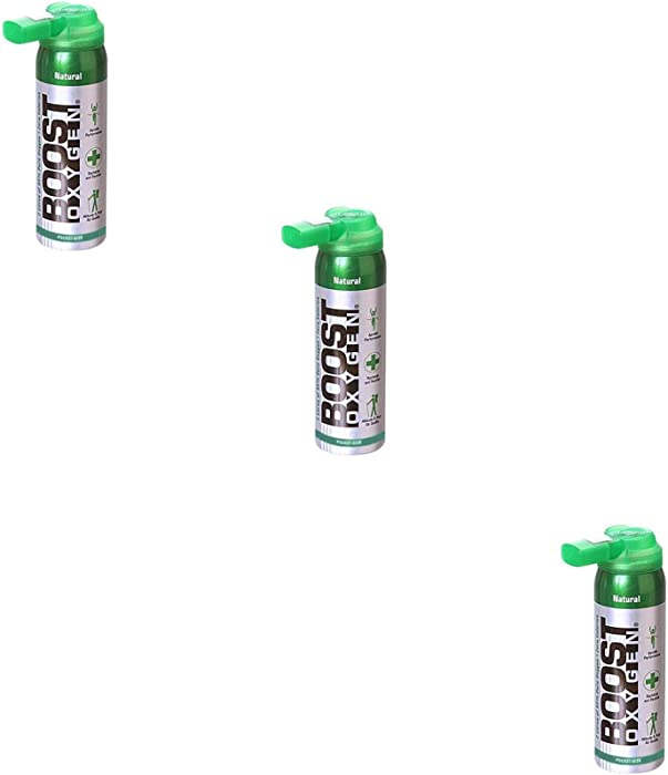 Boost Oxygen Supplemental Oxygen to Go | All-Natural Respiratory Support for Health, Wellness, Performance, Recovery and Altitude (2 Liter Canisters, 3 Pack, Natural)