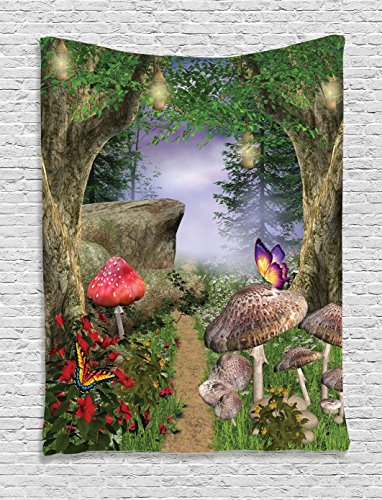 (Ambesonne Mushroom Tapestry, Enchanted Nature Pathway with Magical Butterflies Fairytale Landscape Rocks, Wall Hanging for Bedroom Living Room Dorm, 40 W X 60 L Inches, Green Red )