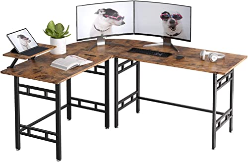 IRONCK L-Shaped Desk 67 inch Large Corner Table, Industrial Computer Desk PC Laptop Study Writing Table Workstation for Home Office