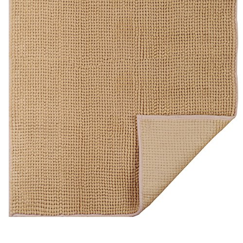 Jml Bath Mat Non-Slip Soft Absorbent Machine Washable Bathroom Rug Bath Mat Runner for Floor Kitchen Bathroom (Light Brown, 27 x 47 Inches)