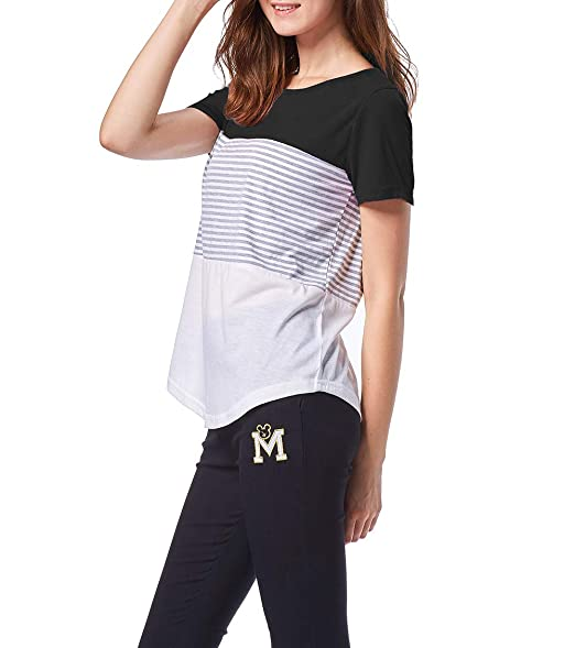 a0c876b00237 PrettyOn Women Short Sleeve T Shirts Round Neck Tops Color Block ...
