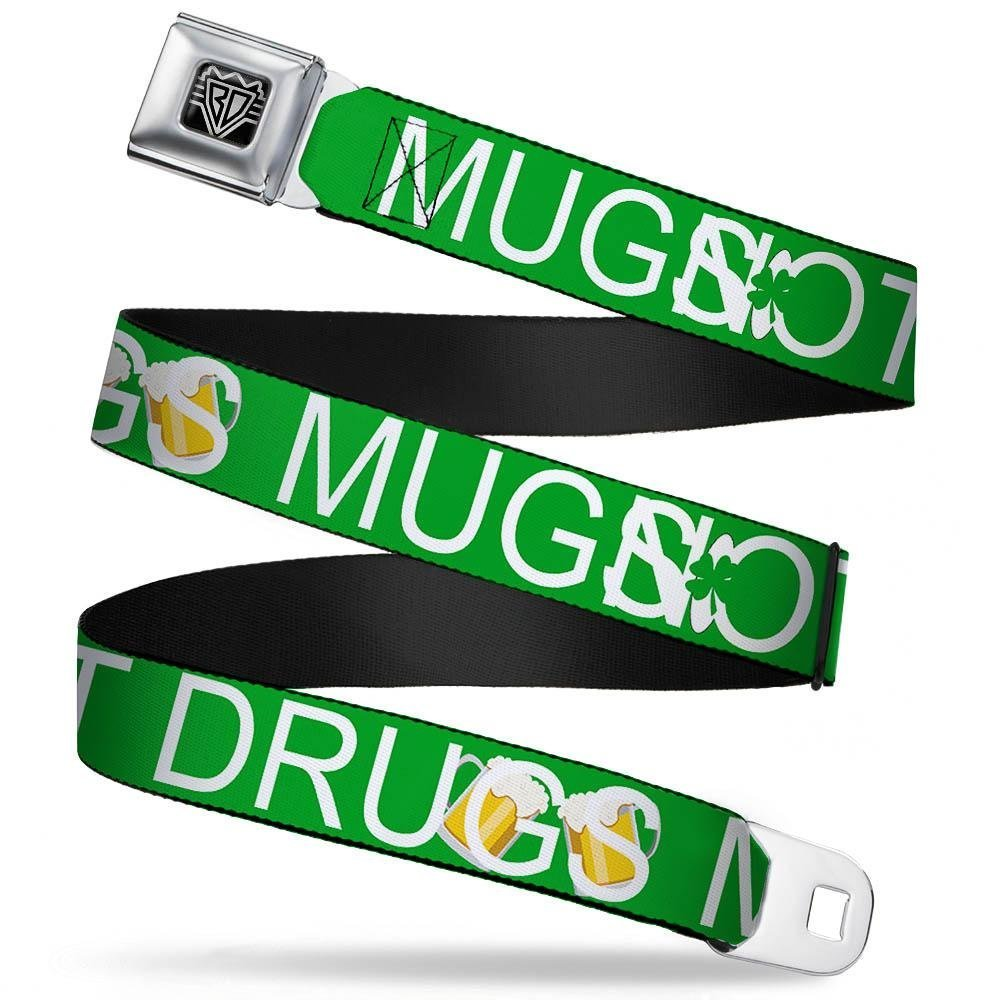 Strip Pats Drugs//Beer Mugs Green//White//Gold 1.5 Wide-24-38 Inches Buckle-Down Unisex-Adults Seatbelt Belt St Regular