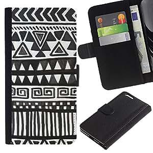 iBinBang / Flip Funda de Cuero Case Cover - Dibujo Polígono Blanco Negro Niños - Apple Iphone 6 PLUS 5.5