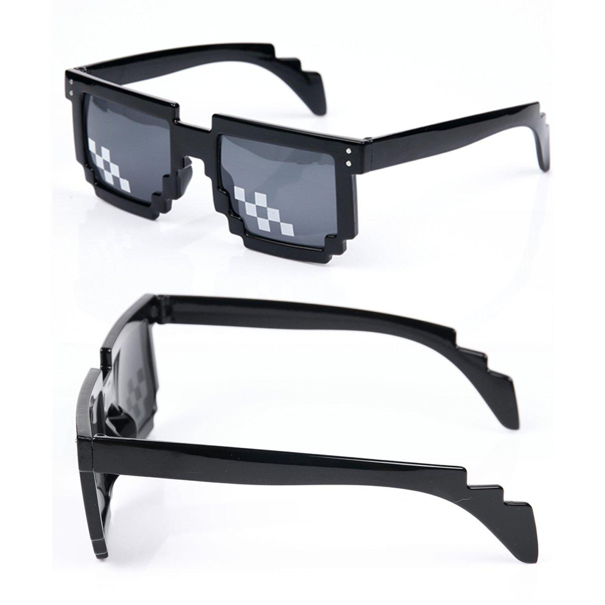 8275dc4284 Juego de 3 Gafas de Sol Thug Life, para Hombre y Mujer, de Cristal, con  Mosaico de 8 bits, Unisex, Color Negro: Amazon.es: Electrónica