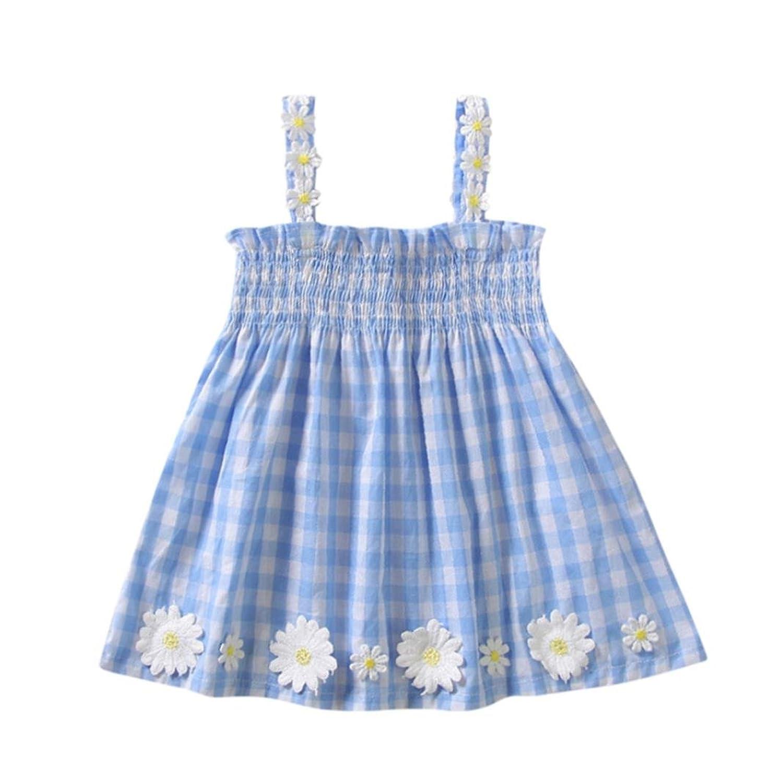 4d5ba1945 Fossen 1-4 años Bebe Niñas Vestidos de cuadros - sin mangas - con Flor