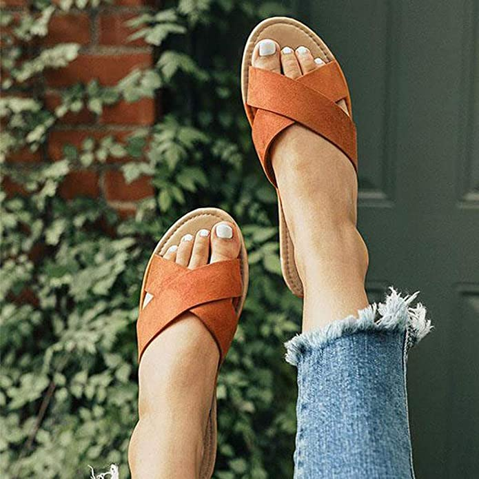 VJGOAL Chaussure Femme Ete Pantoufles Sandales Plates Plage Casual Talon Bas Chaussures De Mode Rayure Solide Printemps Simple Nouveau