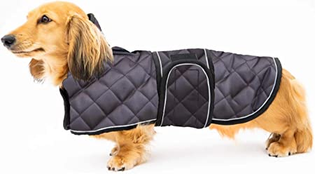Geyecete Warm Thermal Quilted Dachshund Coat, Dog Winter Coat with Warm Fleece Lining, Outdoor Dog Apparel with Adjustable Bands for Medium, Large Dog