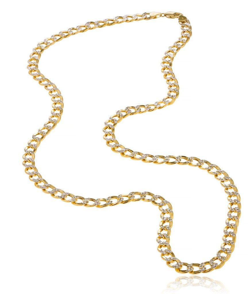 10K Yellow Gold 5mm Thick Cuban Curb Diamond Cut Pave Chain Necklace -22'' by PORI JEWELERS (Image #2)