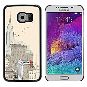 Be Good Phone Accessory // Dura Cáscara cubierta Protectora Caso Carcasa Funda de Protección para Samsung Galaxy S6 EDGE SM-G925 // City New York Painting Empire Building