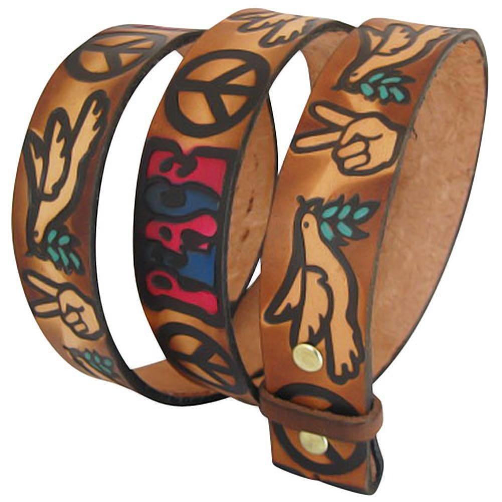 Embossed Love & Peace Sign Brown (multi-color)- Genuine Tooled Leather Interchangeable Belt Strap. STRAP ONLY! Brown 30 inches