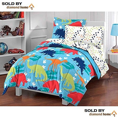 5pc Kids Twin Dinosaur Toddler Bedding Set, Bed Bag Dinosaur Comforter Set, Pattern, Blue Green Red White Orange, Girls, Boys, Prehistoric Dinosaur Theme, Unisex Children