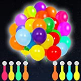 POKONBOY 50 Pack LED Light Up Balloons, Glow in the Dark Party Supplies LED Balloons Neon Party Supplies for Birthday…
