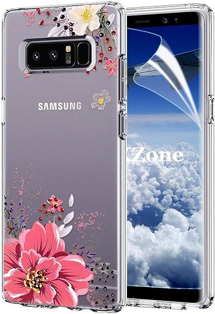 avec Film de Protection /écran HD Rose OKZone Coque Galaxy Note 8 Floral Flower Blossom Fleur Clair Design Motif Silicone Gel TPU Souple Housse Etui de Protection pour Samsung Galaxy Note 8