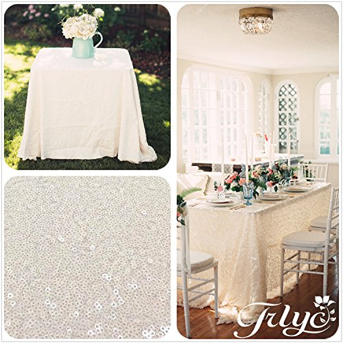 TRLYC 60''x120'' Sparkly Ivory Sequins Wedding Square Tablecloth, 6FT-8FT Overlays Sparkly Ivory Sequin Table Cloth for Wedding, -
