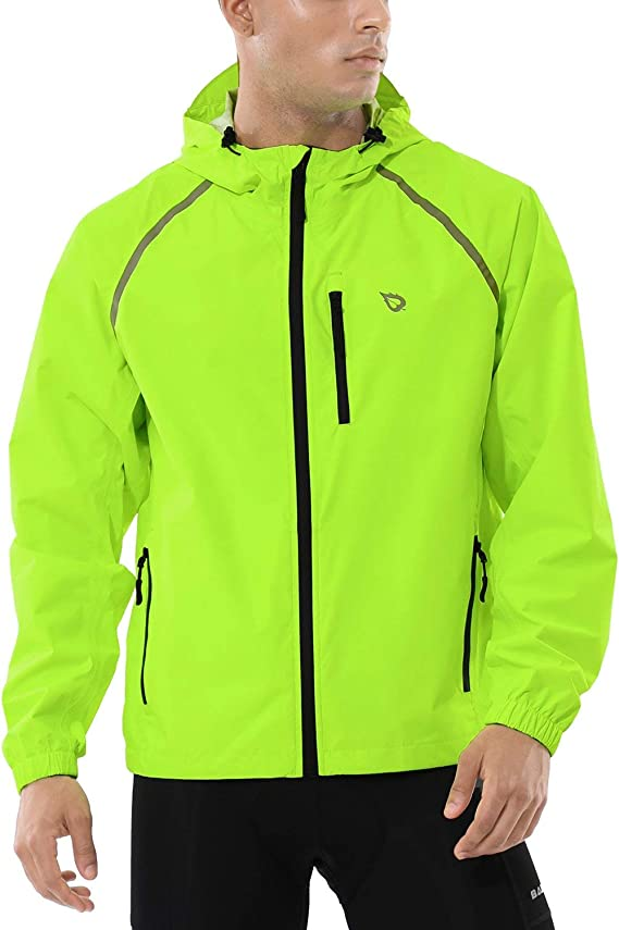 Image of a man in a neon green jacket with black-colored zips running from the bottom up to the neck part